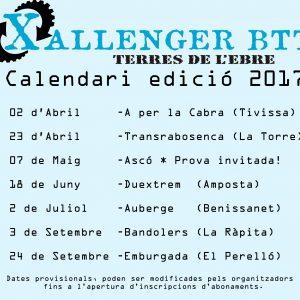 Calendari Xallenger BTT Terres de l'Ebre 2017